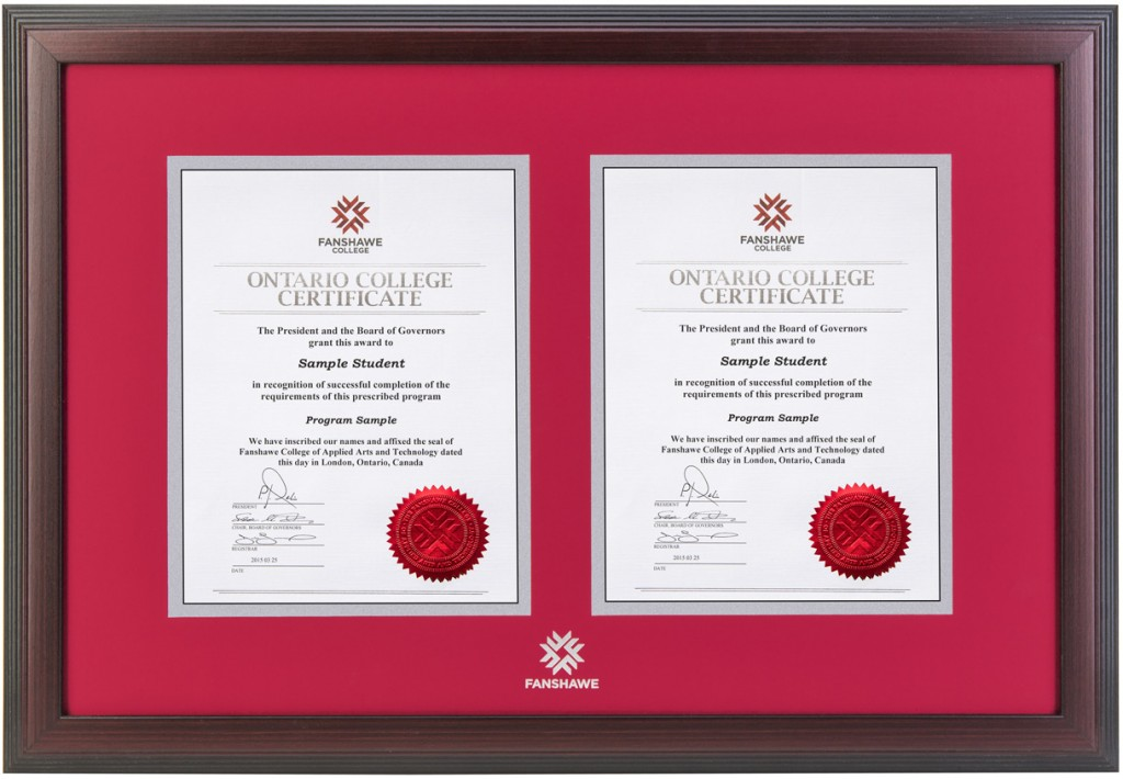 Linear Double Diploma Frame – Fanshawe College Diploma Frames