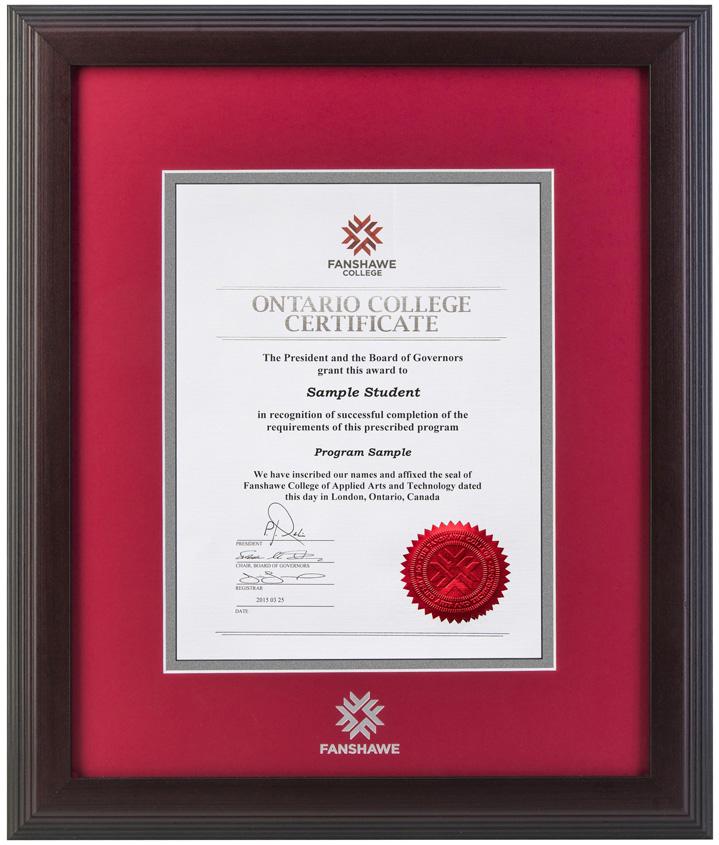 Fanshawe College Diploma Frames – Diploma Frames Online Store