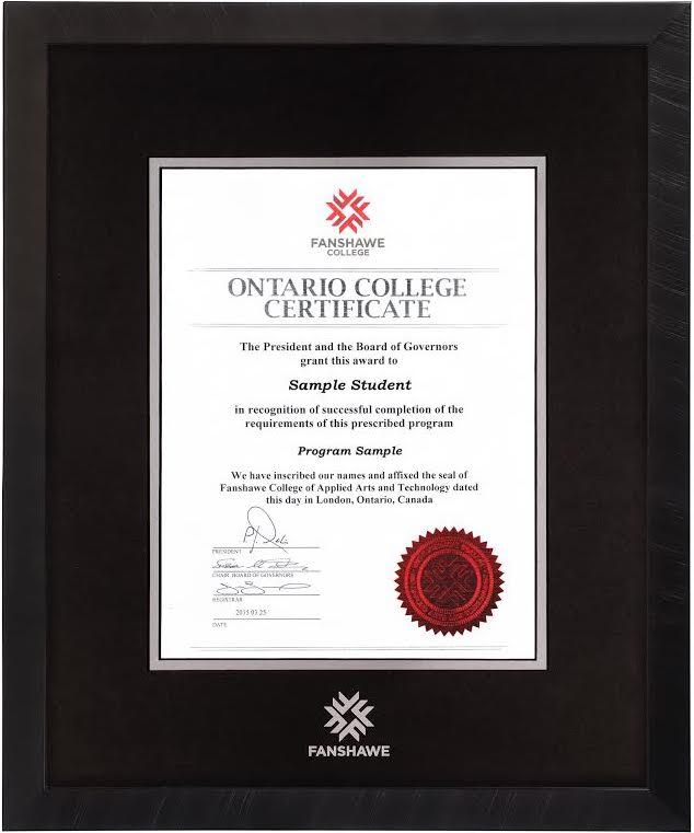 Florentine Black Diploma Frame – Fanshawe College Diploma Frames